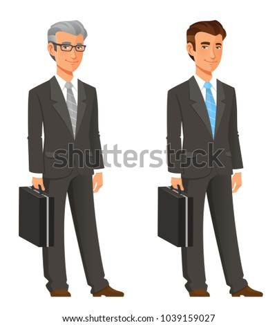 cartoon businessman in grey suit