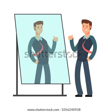 Cartoon businessman loves to look at his reflection in mirror. Egoistic person vector consept. Businessman in mirror reflection, egoistic and attractive confidence illustration