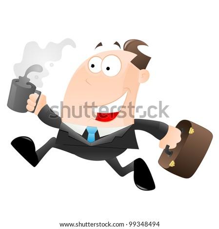 Cartoon Businessman Running