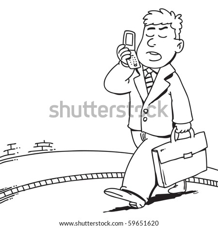 cartoon businessman speaking on a mobile phone