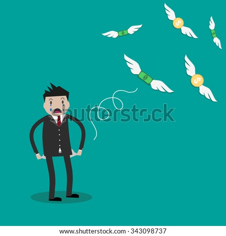 Cartoon Businessman with empty pockets and flying away money. vector illustration on green background. Financials, work motivation