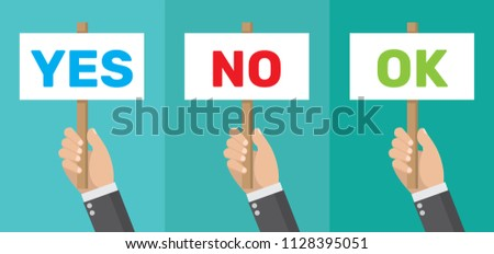 Cartoon, Businessmen holding a signboard with the word YES NO and OK YES.,vector eps10