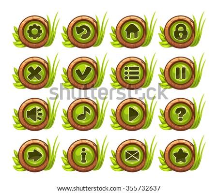 cartoon buttons menu set with