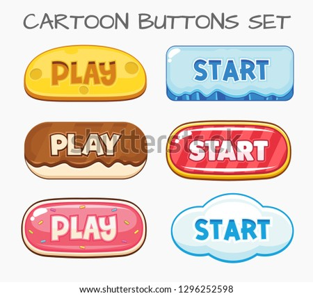 Cartoon buttons set game.Vector illustration
