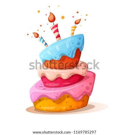cartoon cake illustration with