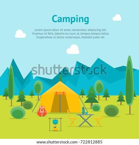 cartoon camping day view card