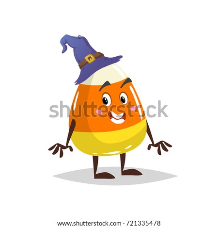 Cartoon Candy Corn Costumed Character Mascot In Witch Hat