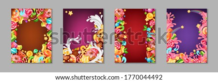 Cartoon candy posters. Background templates with sweets and desserts for kids, chocolate and caramel cakes lollipops and cookies. Vector template colourful banner set Сток-фото ©