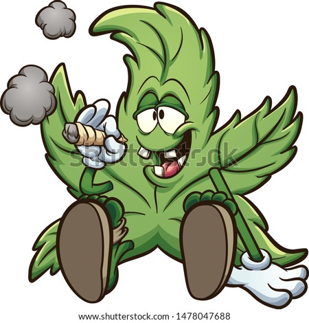 Cartoon cannabis plant character smoking a marihuana joint clip art. Vector illustration with simple gradients. All in a single layer.