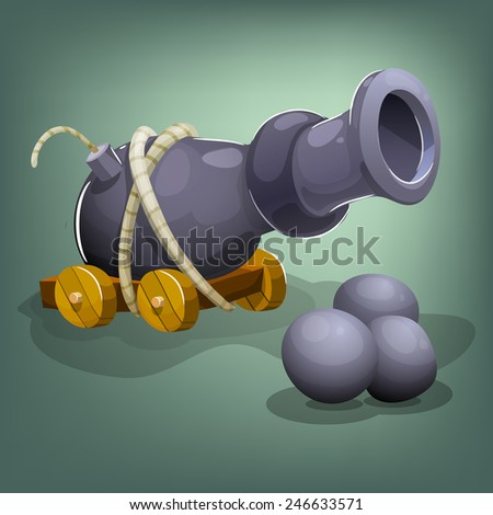 cartoon cannon and cannon balls