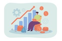 Cartoon capital growth and cash profits metaphor. Flat vector illustration. Employee or investor working on financial planning and getting dividends. Business, investment, finance, money concept
