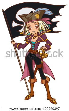 Cartoon captain pirate girl with pirate flag
