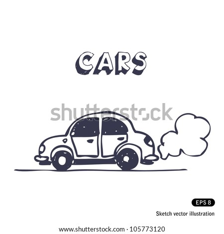 Cartoon car blowing exhaust fumes. Hand drawn sketch illustration isolated on white background