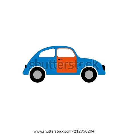 cartoon car logo flat  cute