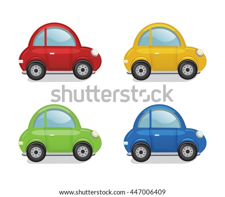 cartoon car set on a white