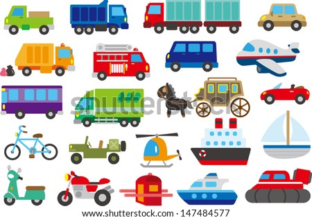 cartoon car, truck, submarine, ship, plane