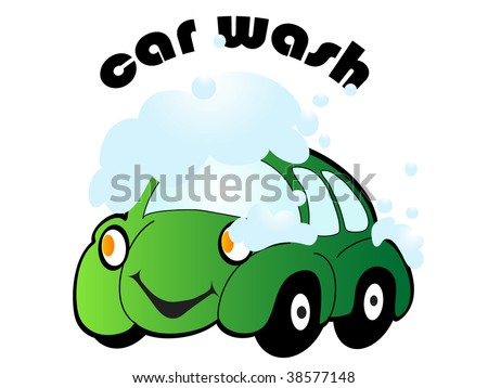 stock vector : Cartoon car with car wash sign - vector illustration