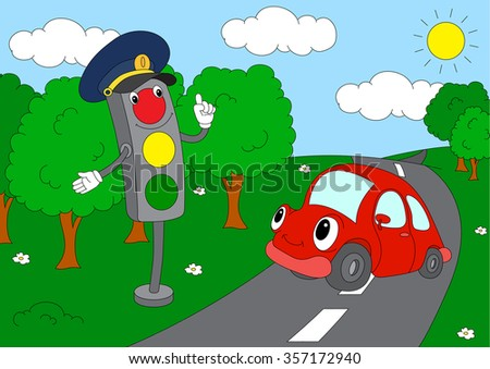 cartoon car with traffic lights