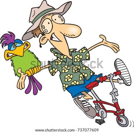 cartoon carefree man riding a