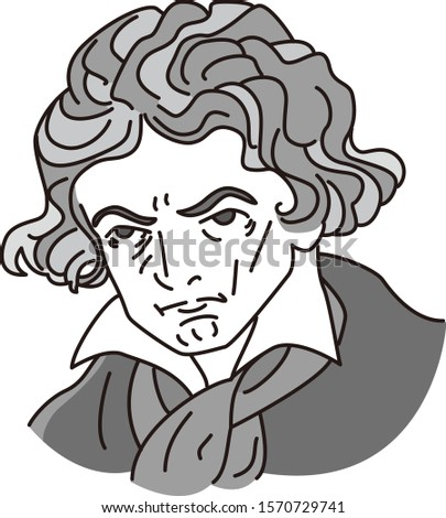 Cartoon caricature of musician Beethoven
