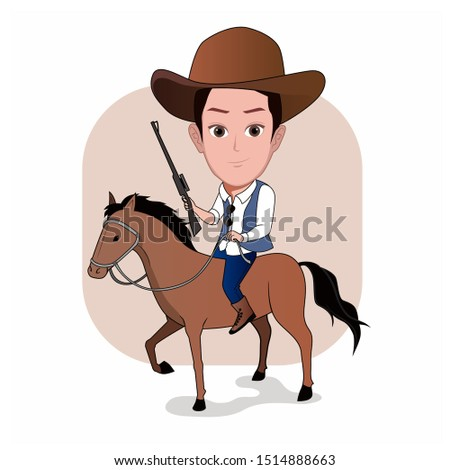Cartoon caricature template. illustration of a man wearing cowboy clothes and riding a horse. His right hand is holding a long-barreled firearm posing ready to hunt.