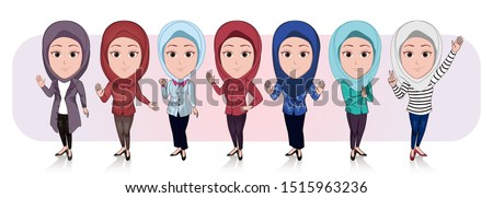 cartoon caricature template. illustration of a number of Muslim women dressed in hijab with a variety of poses and types of clothing. vector cartoon with a plain white background.