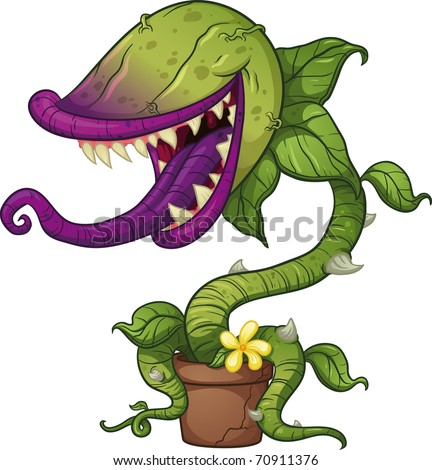 Cartoon carnivorous plant. Vector illustration with simple gradients. All in a single layer.