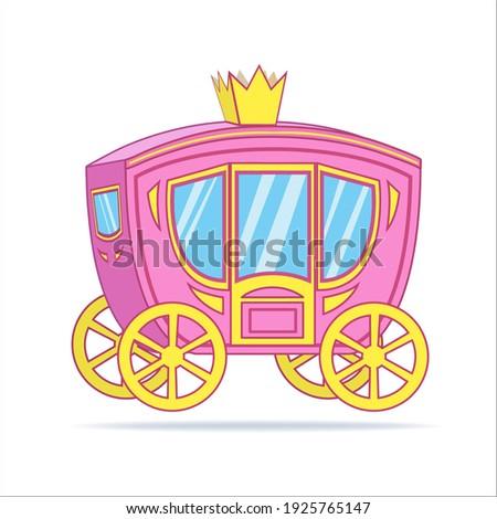 Cartoon carriage princess. Cute vector illustration pink royal carriage. Stock photo ©