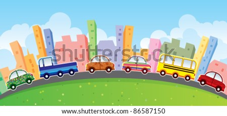 cartoon cars cityscape