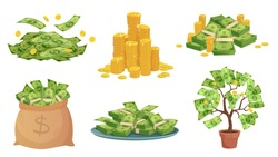 Cartoon cash. Green dollar banknotes pile, rich gold coins and pay. Cash bag, tray with stacks of bills and money tree. Wealth savings or investment isolated vector illustration icons set