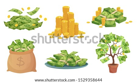 Cartoon cash. Green dollar banknotes pile, rich gold coins and pay. Cash bag, tray with stacks of bills and money tree. Wealth savings or investment isolated vector illustration icons set Foto d'archivio ©