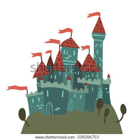 cartoon castle on a hill flat