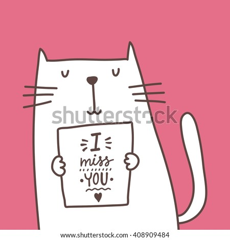 cartoon cat card i miss you
