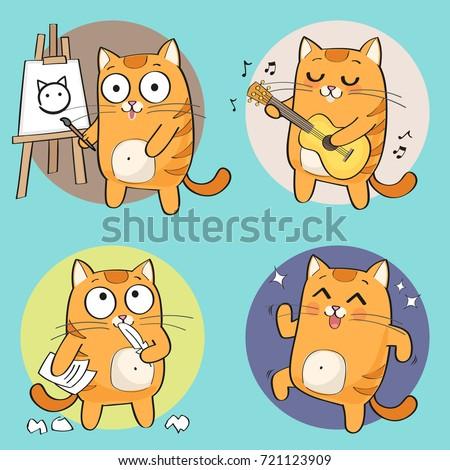 cartoon cat character creative