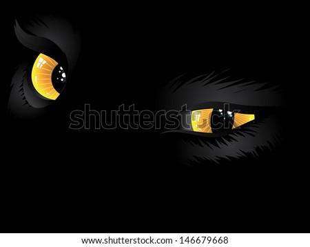 cartoon cat eyes of yellow
