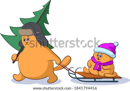 cartoon cat father with a