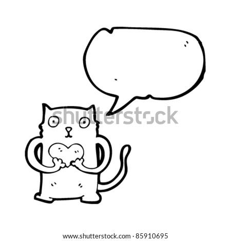 cartoon cat in love