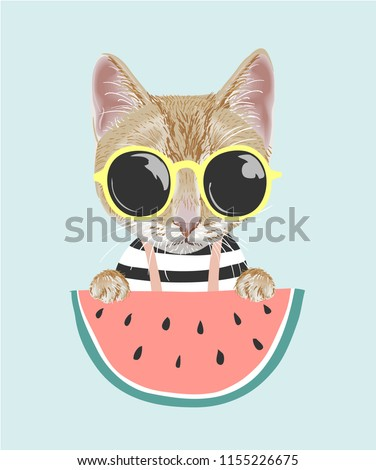 cartoon cat in sun glasses with