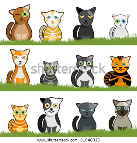 cartoon cat set