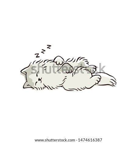 cartoon cat sleeping in cute