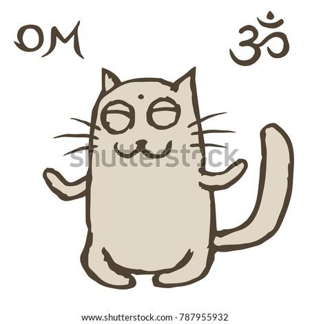 cartoon cat tik sits immersed