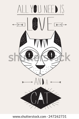 Cartoon cat typographic poster. All you need is love and a cat