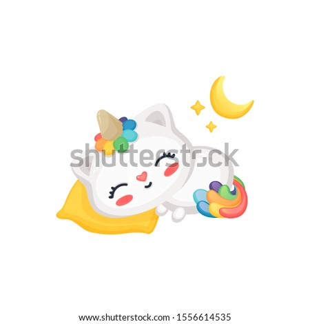 cartoon cat unicorn sleeping
