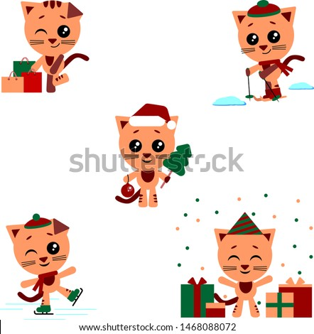Cartoon cat. Vector kitten on white background. The set consists of a cat who skate and ski, makes purchases, celebrates a birthday, celebrates the new year.
