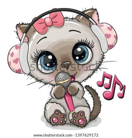 cartoon cat with headphones and