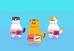 Cartoon cats holding shopping bags with special offer and promotion. Big Christmas sale or Happy New Year sale when the product price the most discount from 50% up to 80%. Concept of seasonal discount