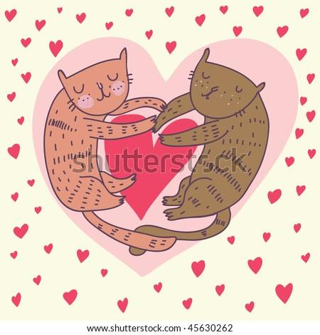 cute cartoon images of love. stock vector : Cartoon cats in love. Cute romantic background