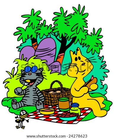 Cartoon Cats making picnic in the forest.