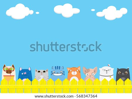 Cartoon cats on the yellow fence on blue sky background. Cute pets background.