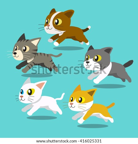 cartoon cats running set